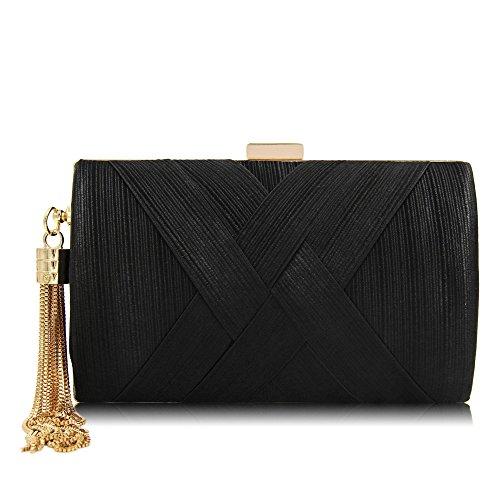 sacs main sac NBWE à mariage soirée soie gland Femmes mariée pendentif Black en élégant embrayage 8qwOPr8