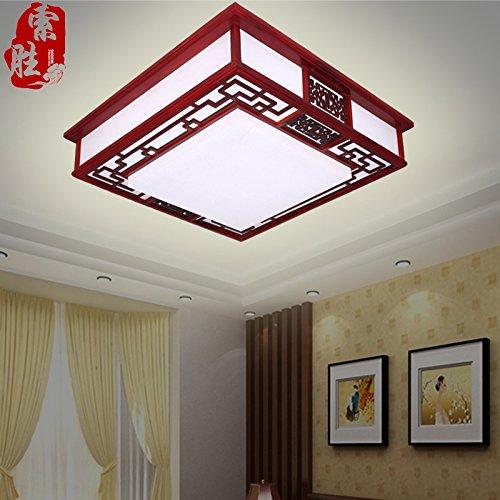 BLYC- Modernen chinesischen Stil-Deckenleuchte Dimmen führte Studie Lampe Schlafzimmer Wohnzimmer Lampe Leuchte Lampe Durchmesser Massivholz Schaffell 650mm