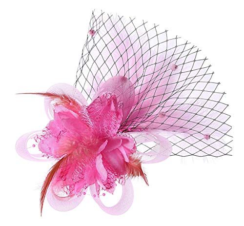 Removable Fascinator Hair Clip Feather Wedding Headwear Bridal 1920s Headpiece Women (Pink)