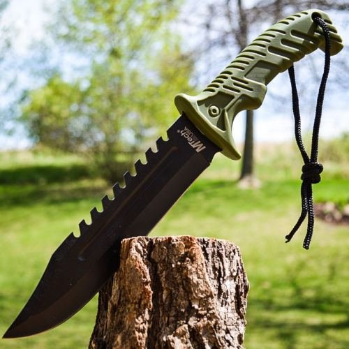 "13"" Tactical Survival Rambo Hunting Fixed Blade Knife Army Bowie W/ Sheath 10"