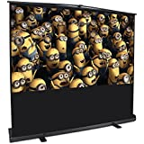 """ARKSEN   Pull Up Projector Screen   80"""" Inch   4:3 HD   Portable Home Theater   Aluminum Case w/ Handle   Black"""