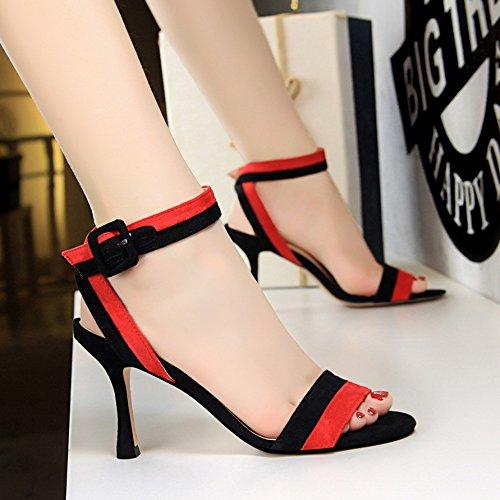 de Gules de de altos tacones y con moda alto mujeres treinta verano cuatro Zapatos para tacón gamuza zapatos y FxqZwdFn0