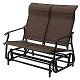 Giantex Glider Bench Outdoor 2 Person Loveseat Chair Loveseat Armchair Garden Bench Chair (Dark Brown)