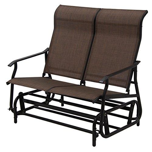 Giantex Glider Bench Outdoor 2 Person Loveseat Chair Loveseat Armchair Garden Bench Chair (Dark (Glider Outdoor Loveseat)