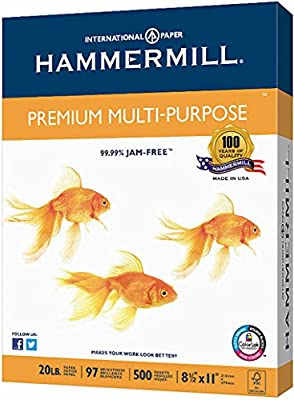 Hammermill Premium Multipurpose Laser Inkjet Printer Fax Copy Paper, 8 1/2 Inch x 11 Letter Size, 20 lb., 97 Brighter White, 99.9% jam-free, ColorLok, Acid Free, Ream, 500 Total Sheets (106310)