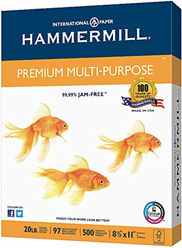 (Hammermill Premium Multipurpose Laser Inkjet Printer Fax Copy Paper, 8 1/2 Inch x 11 Letter Size, 20 lb., 500 Total Sheets )