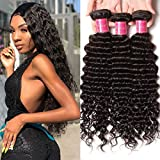 Ali Julia Hair 20 18 16 inch Brazilian Virgin 10A Deep Curly Wave Hair Weft 3 Bundles 100% Real Unprocessed Human Hair Weave Extensions Natural Color 95-100g/pc