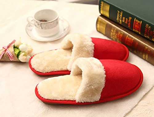 Cattior Womens Fur Lined Comfy Ladies Slippers House Slippers (6.5, Red)