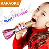 NeWisdom top 2017 christmas gifts Wireless Karaoke Microphone, Kids Singing Machine Karaoke Microphone Toy for Young Girls Birthday Present for Teenagers with Premium Gift Packing - Purple
