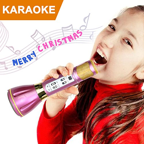NeWisdom top birthday 2017 christmas gifts Wireless Karaoke Microphone, Kids Singing Machine Karaoke Microphone Toy for Young Girls Birthday Present for Teenagers with Premium Gift Packing - Purple (Teenagers For Presents Top Christmas)