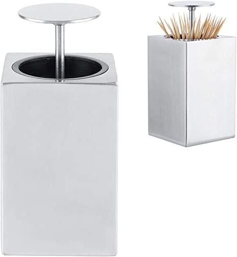 Automatic Toothpick Dispenser Innovative 304 Stainless Steel Automatic Toothpick Push Style Storage Box Dispenser For Home Restaurant Kitchen Dining