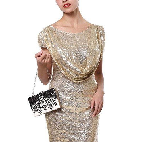 Purse Wedding Ym1050black Bags Women Pu Messenger Rising Handbags Shoulder Clutch ON Diamonds Evening Luxurious Chain Beaded Bag 67aTqax