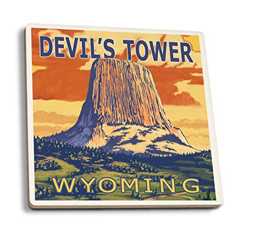 Lantern Press Devil's Tower, Wyoming (Set of 4 Ceramic Coasters - Cork-Backed, Absorbent) ()