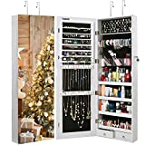 TomCare Jewelry Cabinet Jewelry Armoire Wall Door Mounted Jewelry Organizer Lockable with Frameless Mirror 2 Drawers...