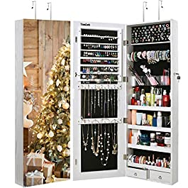 TomCare Jewelry Cabinet Jewelry Armoire Wall Door Mounted Jewelry Organizer Lockable with Frameless Mirror 2 Drawers Jewelry Box Earring Organizer Thickened Hanging Wall Mirror Jewelry Storage