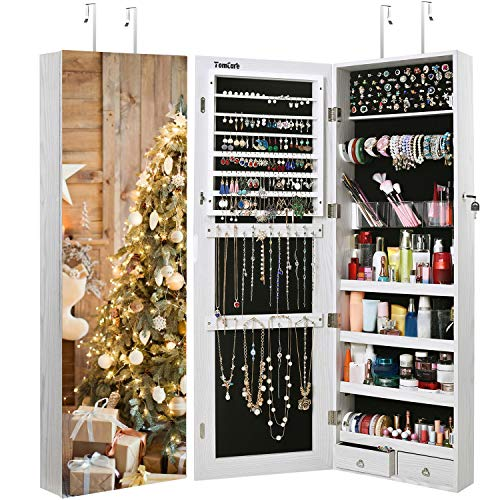 (TomCare Jewelry Cabinet Jewelry Armoire Wall Door Mounted Jewelry Organizer Lockable with Frameless Mirror 2 Drawers Jewelry Box Earring Organizer Thickened Hanging Wall Mirror Jewelry Storage )