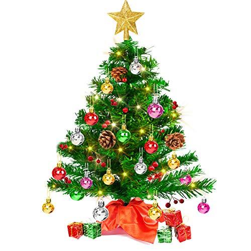 Set Albero di Natale da Tavolo con 50 luci a LED, Mini Albero di Natale da scrivania con Cime degli Alberi Stella Dorata e Ornamenti per Decorazioni Natalizie (20 Pollici)