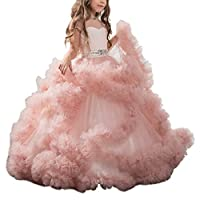 Stunning V-Back Luxury Pageant Tulle Ball Gowns for Girls 2-12 Year Old Pink,Size 10