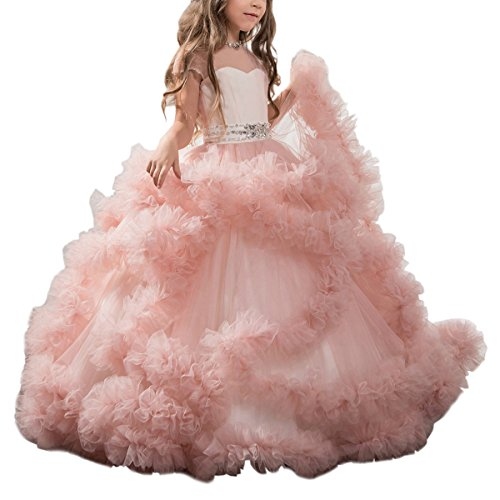Stunning V-Back Luxury Pageant Tulle Ball Gowns for Girls 2-12 Year Old Pink,Size 6