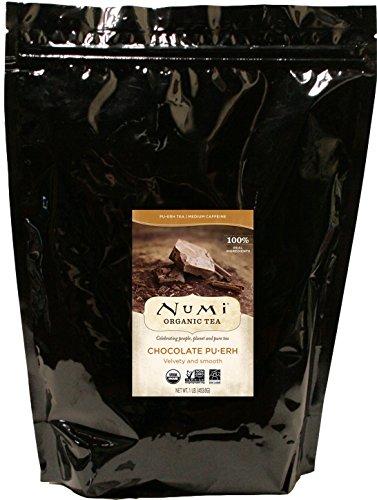 Blacks Dark Organic Chocolate (Numi Organic Tea Chocolate Pu-erh Tea, Loose Leaf Tea, 16 Ounce Bulk Pouch (Packaging May Vary) Premium Loose Leaf Organic Pu-erh Aged Fermented Black Tea with Chocolate, Cinnamon, Orange Peel, Nutmeg)
