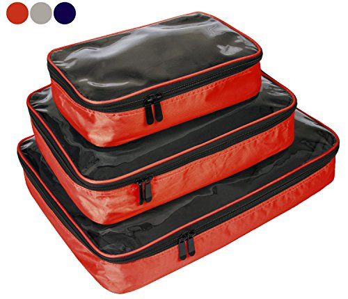 Observ Clear Packing Cubes, Red - Premium, High Strength 3 Piece Travel Organizer Set - Rick Steves Suitcase