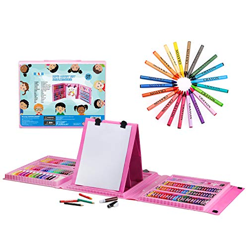 H&B Kids Art Supplies 208-Piece Double Sided Trifold Easel Art Set, Sketching and Drawing Handle Art Box with Oil Pastels, Crayons, Colored Pencils, Markers, Paint Brush and More-Pink/Blue (Pink)