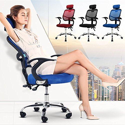Chaise de Bureau,Acelectronic Fauteuil Chaise de Bureau à Bascule Dossier Filet Ergonomique Rouge Réglable en Hauteur Bleu