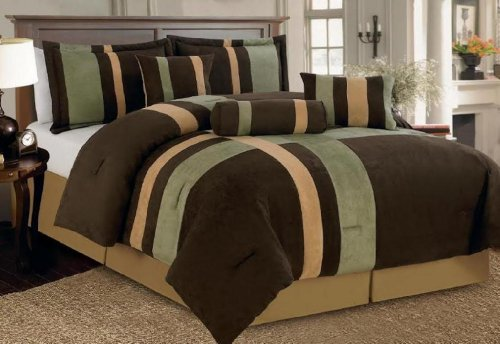 (Legacy Decor 7 Piece Brown, Beige, and Sage Micro Suede Comforter Set Machine Washable Bed-in-a-bag Set QUEEN SIZE)