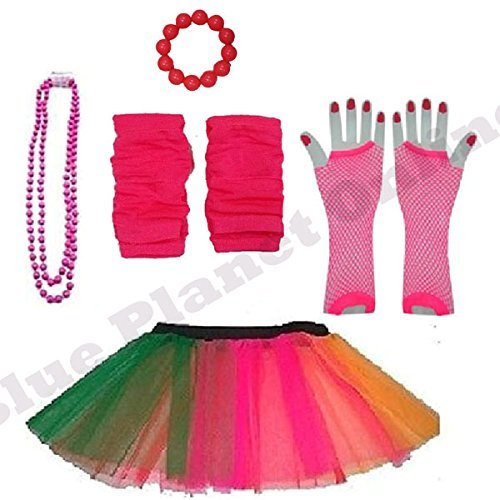 [Plus Size 16-24 - Neon Tutu Skirt, Fishnet Gloves, Legwarmers, Beads Necklace & Chunky Bracelet 1980s Fancy Dress (Neon Rainbow) by Blue Planet] (1980s Dress)