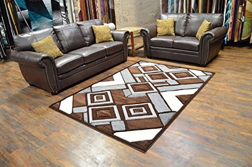 - Premium 3D Effect Hand Carved Modern 5'X7' Contemporary Rug 5394 Brown Gray Grey by Artistry Rugs