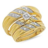 DazzlingRock Collection 0.12 Carat (ctw) Yellow Gold Plated Sterling Silver Round Diamond Men's & Women's Wedding Trio Set