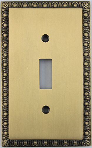 Egg & Dart Antique Brass 1 Gang Toggle Light Switch Plate
