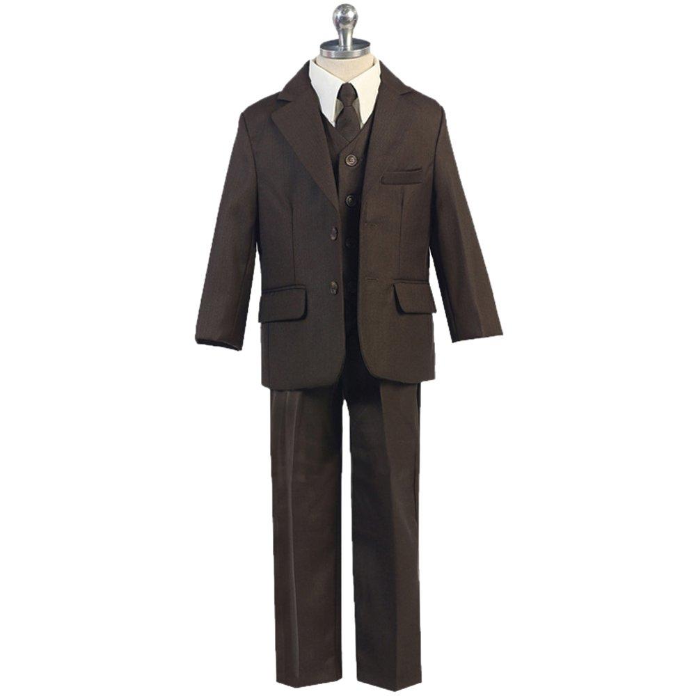 HBDesign Boyss 3 Piece 2 Button Jacket Pant Vest Slim Fit Party Suit Brown