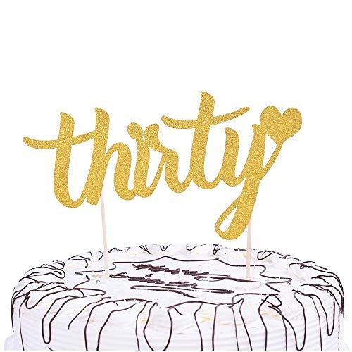 YUINYO Gold 30th Birthday, Anniversary,Wedding Party Decoration Ideas -Thirty-30th Birthday Cake Topper Decoration -Birthday Party Decoration Supplies Party -