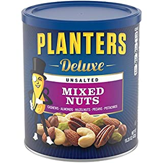 Planters Deluxe Unsalted Mixed Nuts, 15.25 oz Resealable Container - Variety Unsalted Nuts with Cashews, Almonds, Hazelnuts, Pistachios And Pecans - Shareable Snack for Snacking