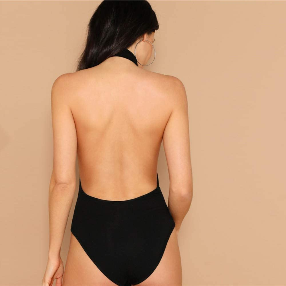 JJHR Body Donna Body con Spalle Scoperte Body Senza Maniche con Scollo Tondo Nero Body Senza Maniche con Maniche Lunghe Elasticizzate