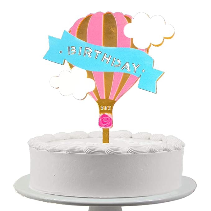 Swell Blingbling Happy Birthday Cake Topper Acrylic Gold Hot Air Balloon Funny Birthday Cards Online Necthendildamsfinfo
