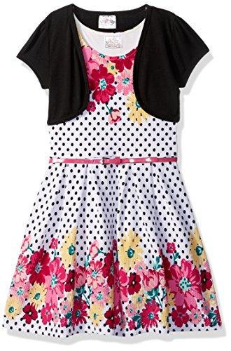 Beautees Little Girls' 2 Pc. Shrug Over Floral/Dot Skater Dress, Black, (Dot Shrug)
