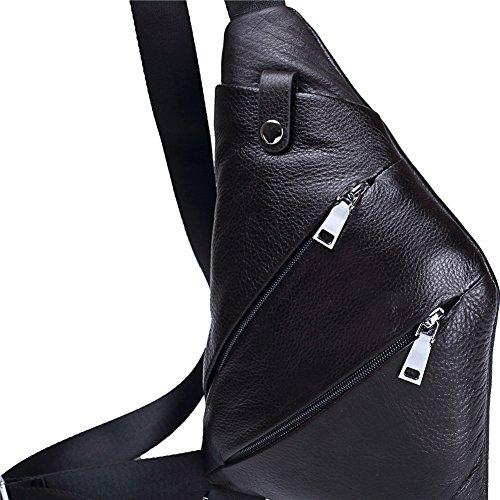 Genda 2Archer Bolso Suave del Cuero Cruzado del Cuero de los Hombres Bolsa de Pecho Mochila Escalada (19cm*2.5cm*29.5cm)