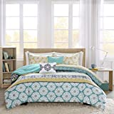 Intelligent Design Arissa Comforter Set Twin/Twin XL Size - Yellow, Teal, Tribal Geometic Medallion – 4 Piece Bed Sets – Ultra Soft Microfiber Teen Bedding for Girls Bedroom