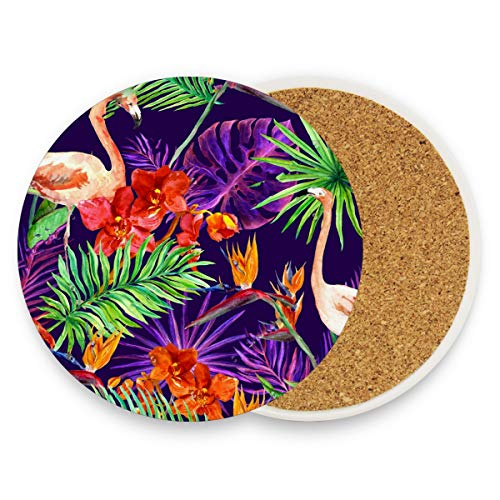 Watercolor Flamingo Pineapple Flower Leaf Coasters, Prevent Furniture from Dirty and Scratched, Round Wood Coasters Set Suitable for Kinds of Mugs and Cups, Living Room Decorations Gift Set of 4