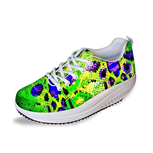 Knuffels Idee Mode Dames Sportschoenen Plateau Fitness Loopschoenen Groen