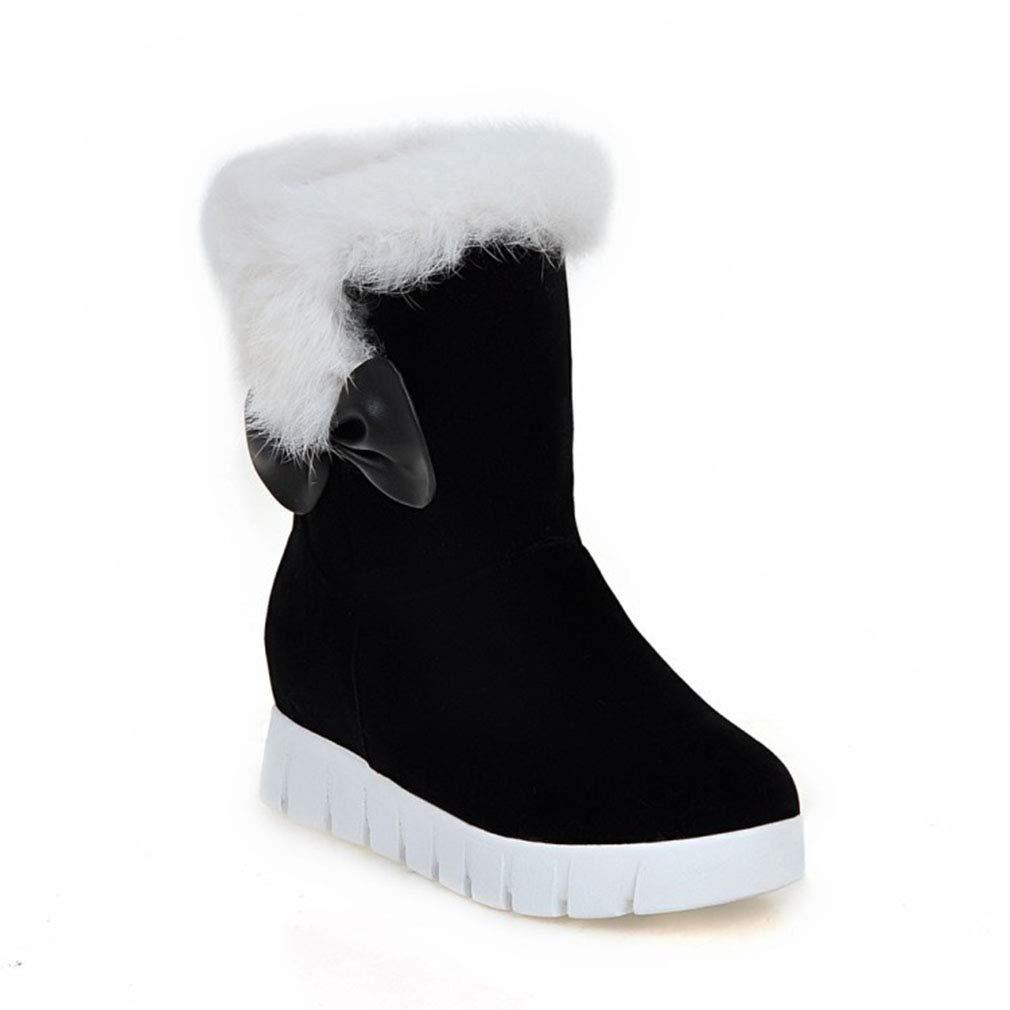 Hy 2018 Frauen Schnee Stiefel Wildleder Winter Slip-Ons Dicke Unterseite Bowknot Stiefelies Damen Große Größe Plus Cashmere Skiing Schuhe (Farbe   Schwarz Größe   36)