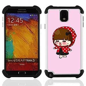 For Samsung Galaxy Note3 N9000 N9008V N9009 - Cute Girl Painting H???¡¯????brido Protecci???¡¯????n completa dual de alto impacto Capa Funda - Cash Case -