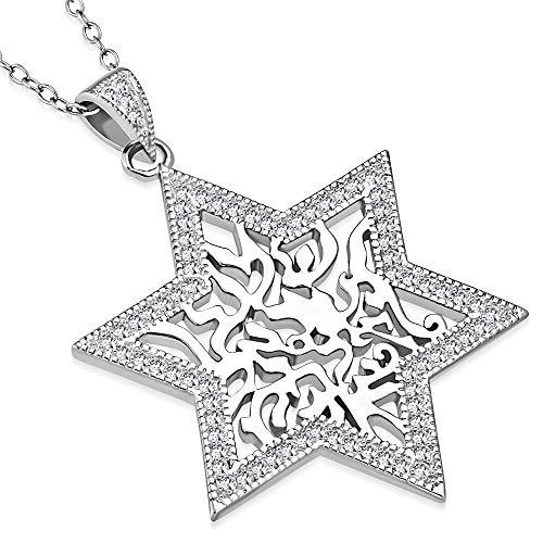 925 Sterling Silver CZ Jewish Star of David Shema Sh'ma Yisrael Pendant Necklace