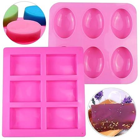 SIMUER Silikon Seifenformen 6 Hohlräume Silikonform Oval Rechteckig Seifenform Kuchenform für Craft Seife Schimmel, Kuchen DI