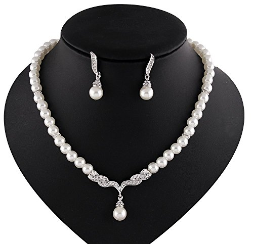 [Girl Era Elegant Austrian Crystal Simulated Pearl Victorian Style Necklace Earrings Set Clear(w)] (Victorian Era Womens Costumes)