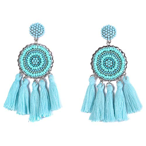 - RIVERTREE Beaded Tassel Earrings for women - Teal Chandelier Seed Beads Statement Fringe Disc Top Dangle Drop Earring Boho