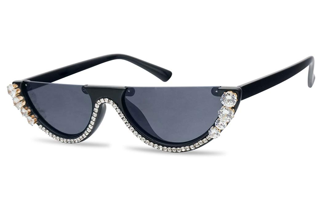 SunglassUP Super Small Half Moon 1990s Cateyes Sunglasses (Black Frame (Rhinestones) |Black) by SunglassUP