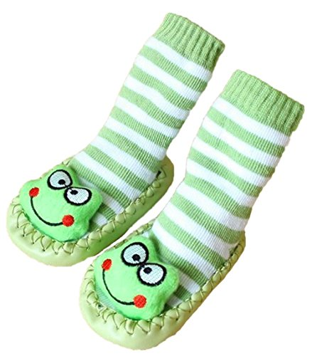 Bebedou rayas verde Calcetines de dibujos animados de 6a 12meses bebé niños Kids Comfy Interior Pantuflas Calcetines Moccasins antideslizante interior zapatos calcetines Durable multifuncional antid